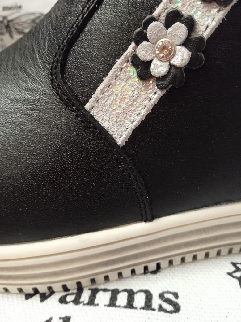 Детские ботинки для девочек ОРЛЕНОК из натуральной кожи, черные
