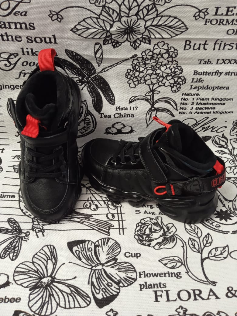 Детские кроссовки СОВЕНОК из натуральной кожи, цвет: черный, артикул: JD01B