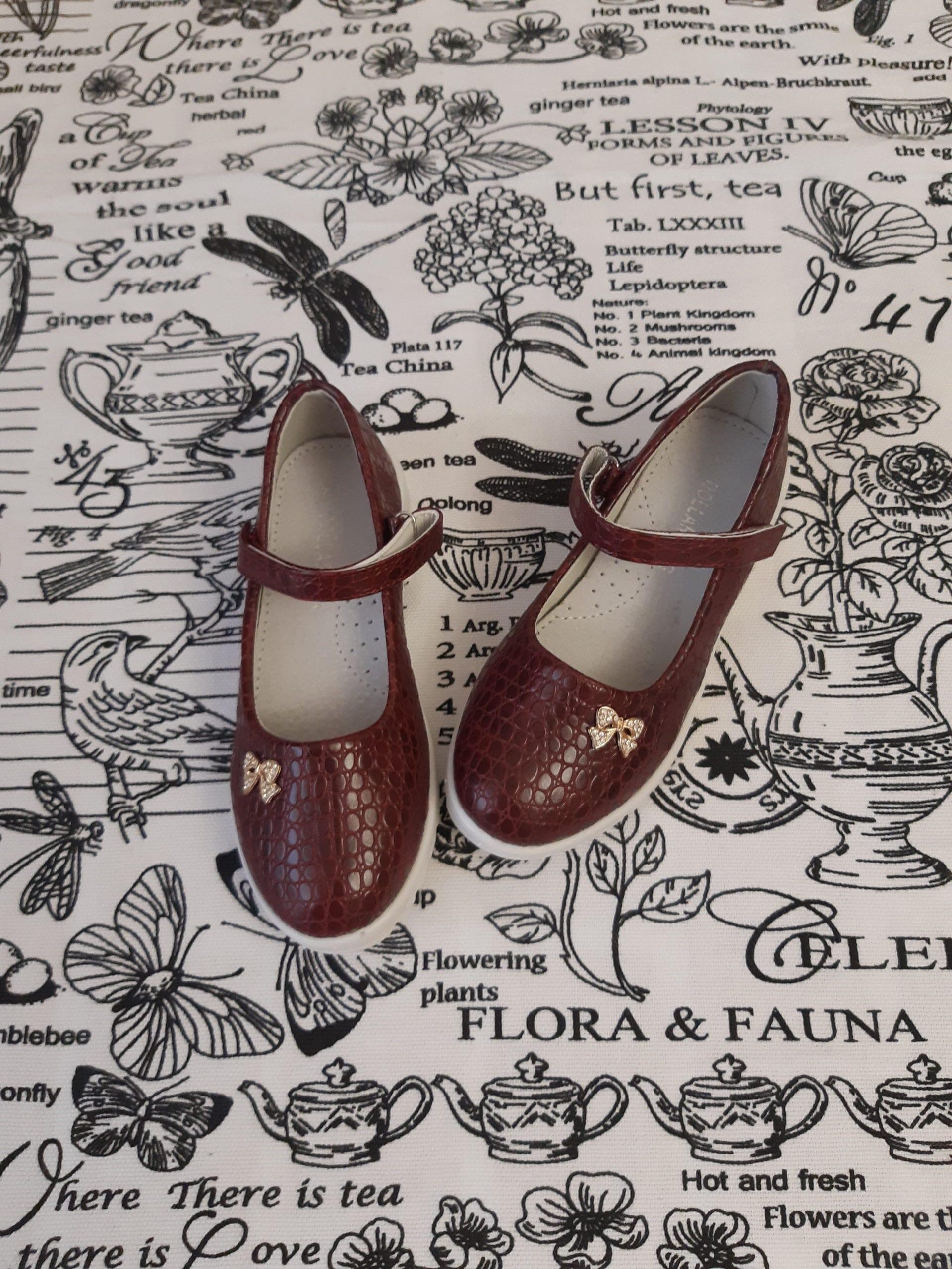 Детские туфли для девочек, цвет: бордовый, Артикул: 777-2W