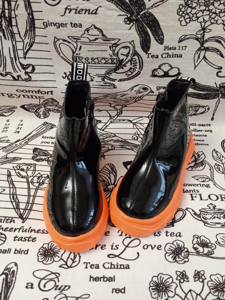Детские ботинки для девочек Капитошка из экокожи, цвет: черный