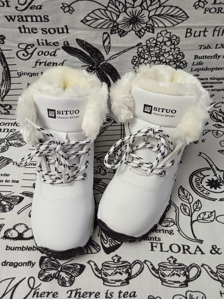 Детские ботинки зимние для девочек, цвет: белый, артикул: SIT-3