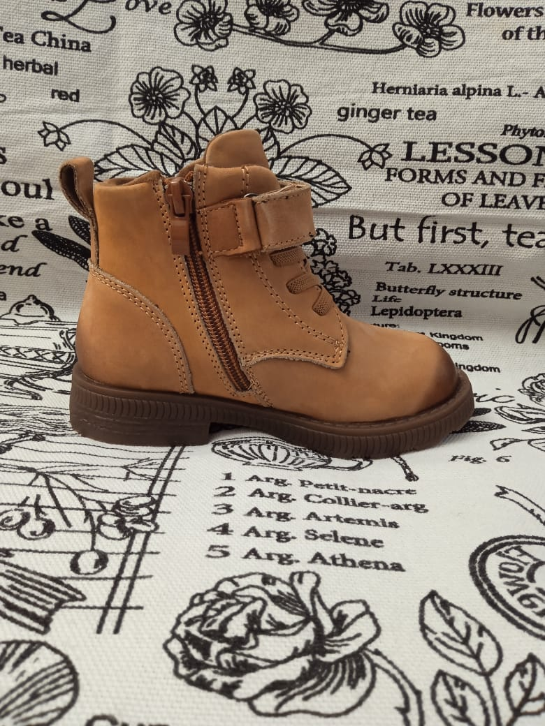 Детские ботинки КАПИТОШКА из натуральной кожи, цвет: бежевый, артикул: F10018
