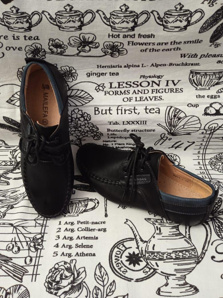 Детские туфли школьные для мальчиков, цвет: черный, артикул: B802-7