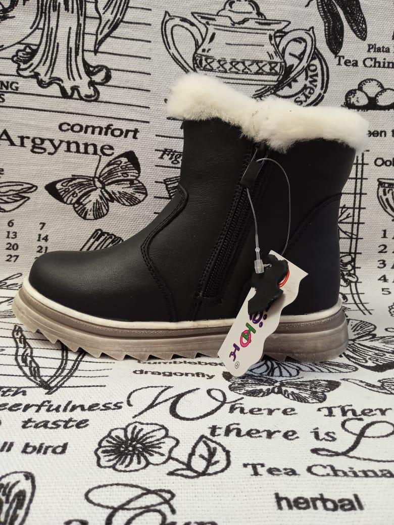 Детские ботинки зимние ОРЛЕНОК из натуральной кожи, цвет: черный, артикул: ORL-1453