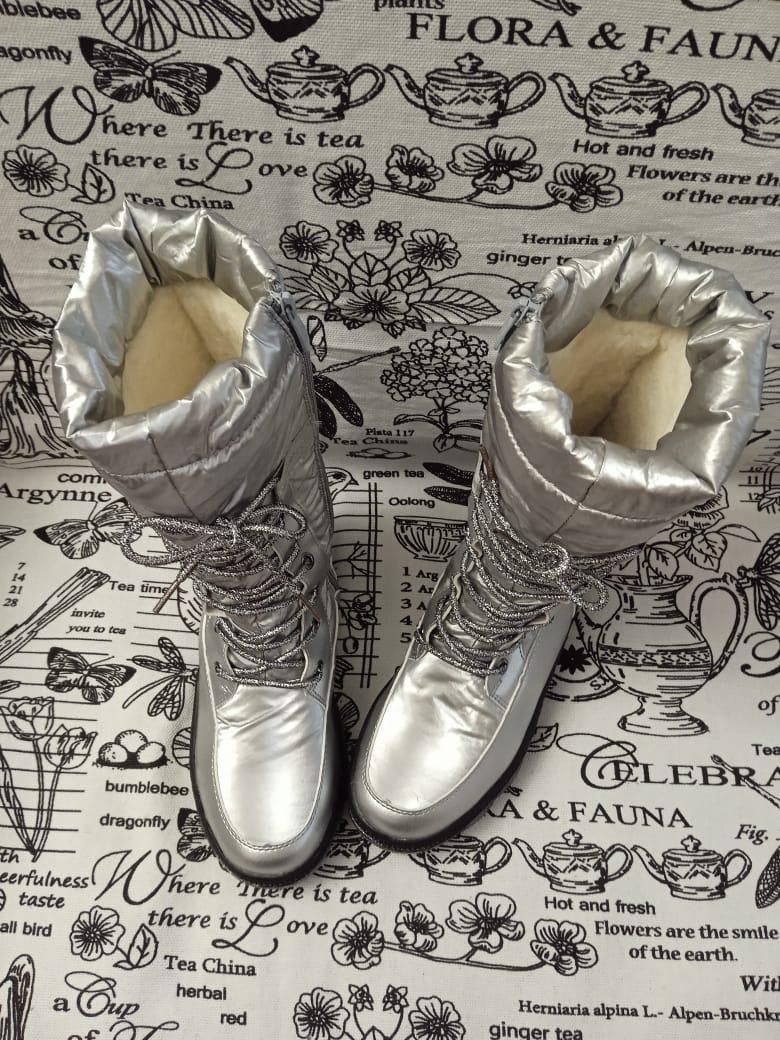Детские сапоги зимние для девочек КАНАРЕЙКА, цвет: серебро, артикул: KAN-3
