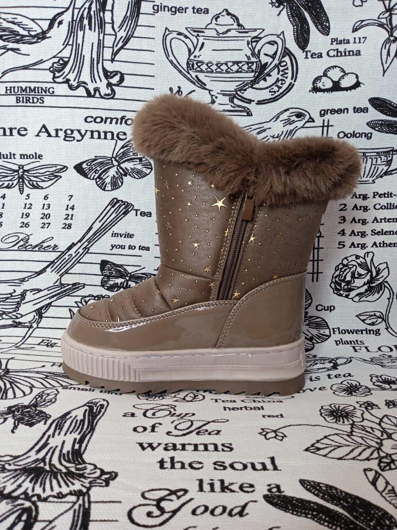 Детские ботинки зимние для девочек ПЧЕЛКА ДОМИ, цвет: коричневый, артикул: PD-1