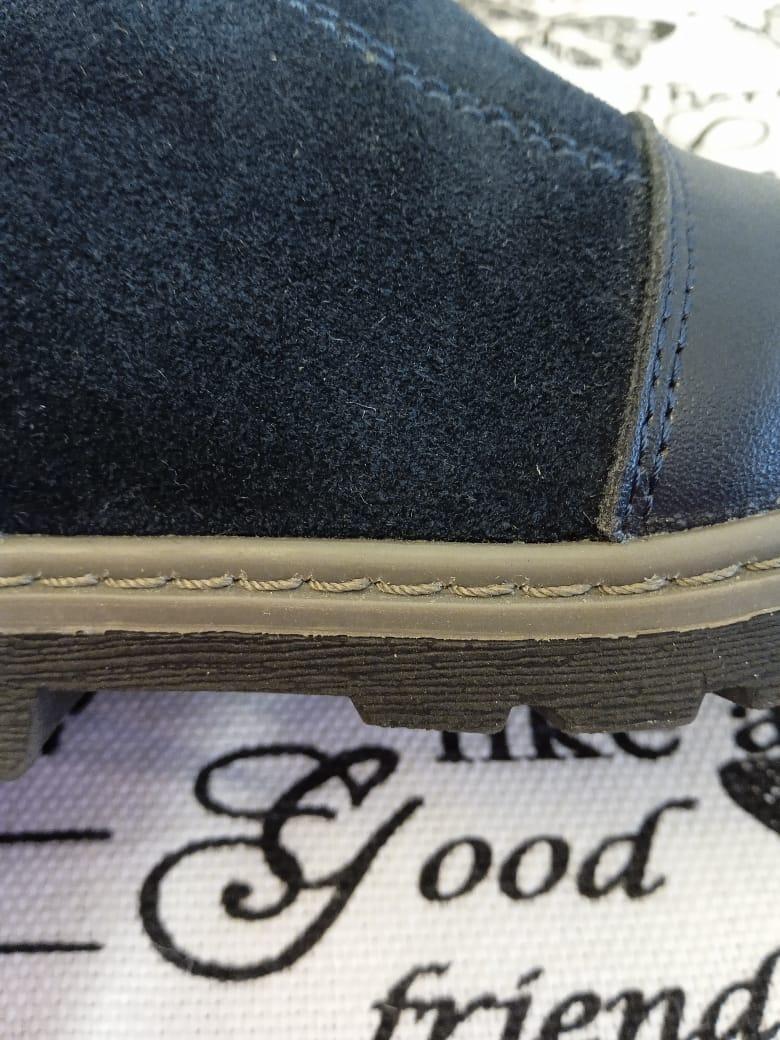 Детские ботинки зимние для девочек BONADDA из натуральной кожи, цвет: синий, артикул: BON-4