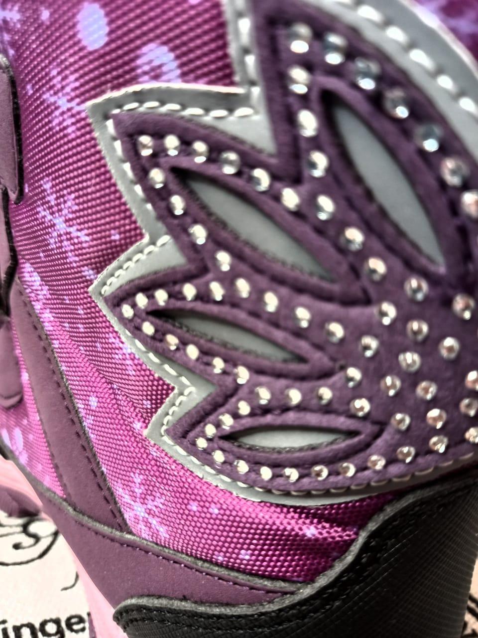 Детские сноубутсы зимние для девочек, цвет: фиолетовый, артикул: SLV-3