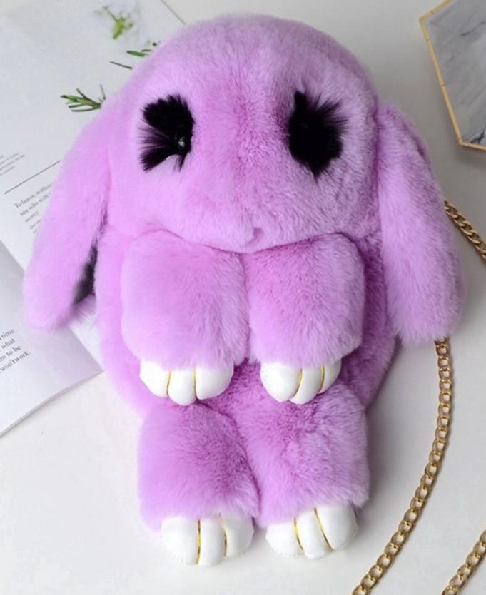 Детская меховая сумка-рюкзак Кролик