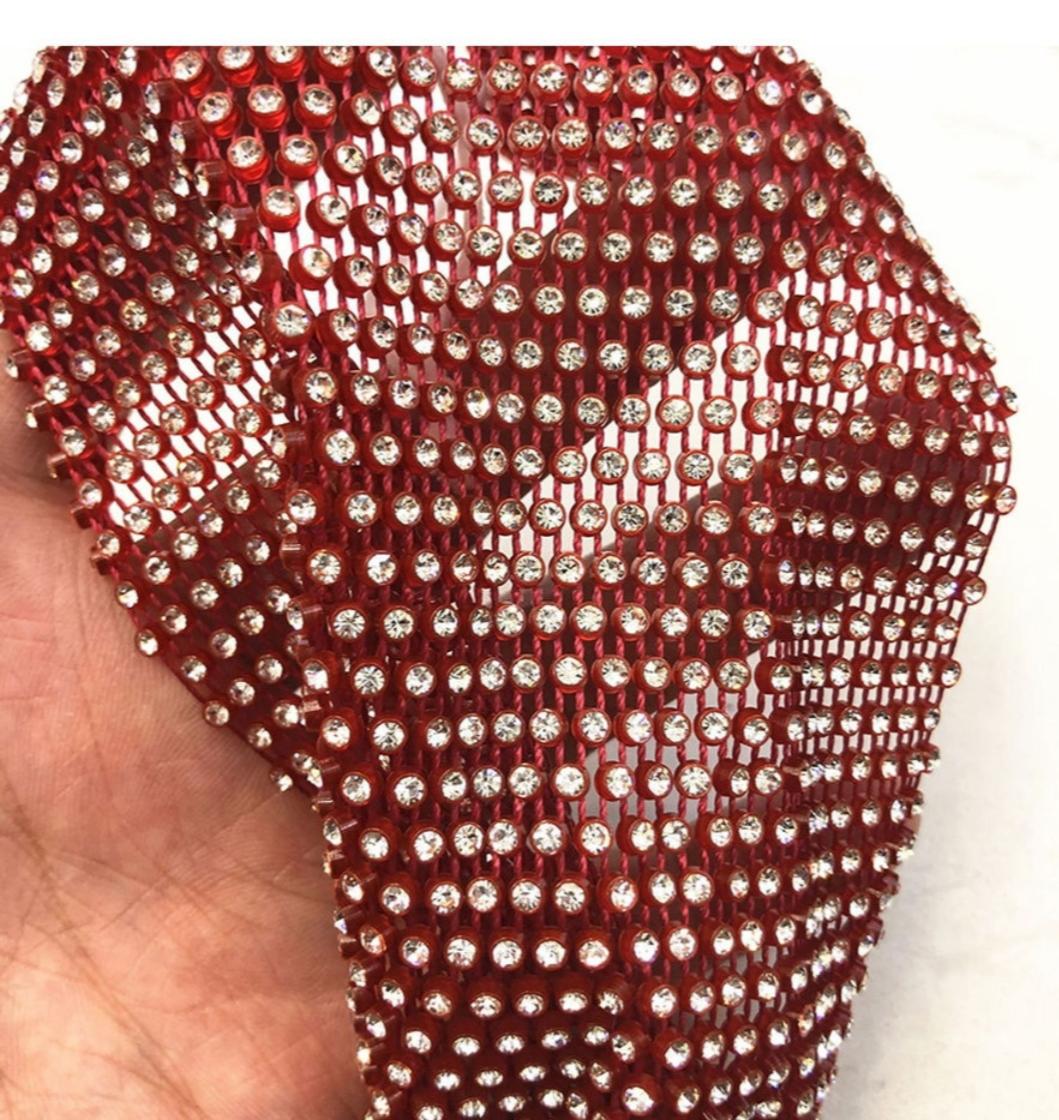 Маска многоразовая для лица со стразами, цвет: красный, артикул: MAS5