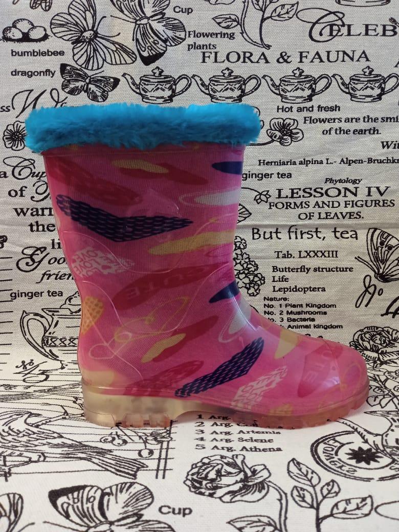 Детские резиновые сапоги для девочек, цвет: розовый