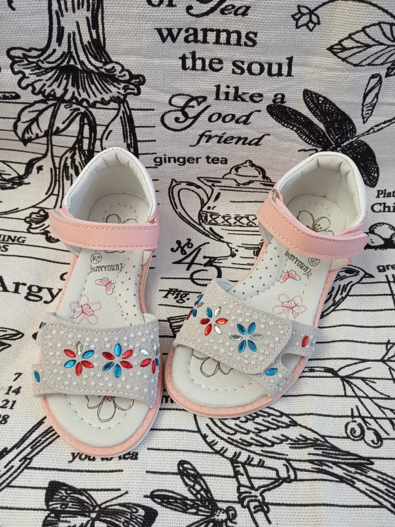 Детские сандалии для девочек ЧИПОЛЛИНО, цвет: серый, артикул: 6016-3