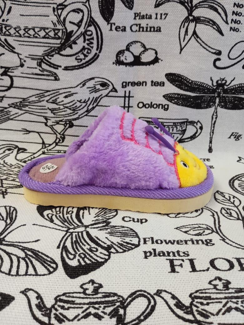 Детские домашние тапочки с резиночкой на пятке ПЧЕЛКА, цвет: фиолетовый