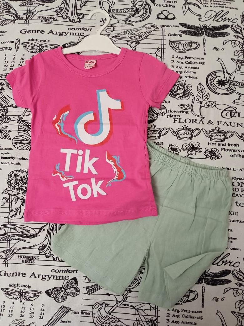 Детский костюм (футболка + шорты) для девочки, цвет: розовый