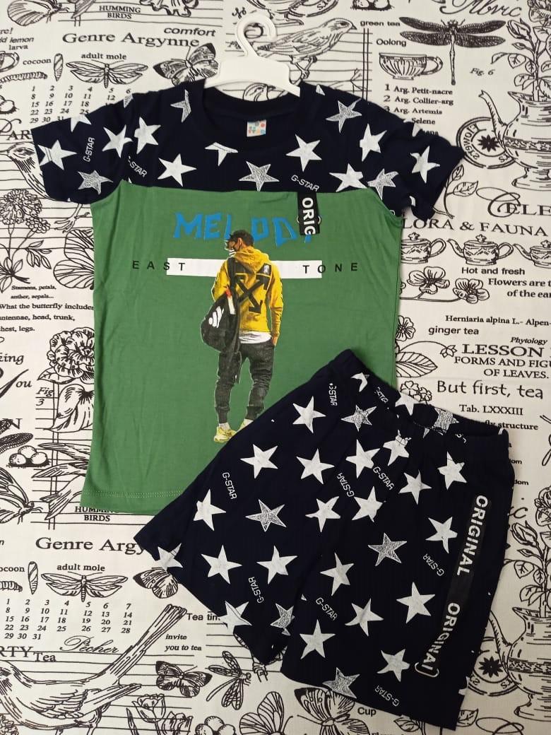 Детский костюм (футболка + шорты) со звездами для мальчика, цвет: зеленый
