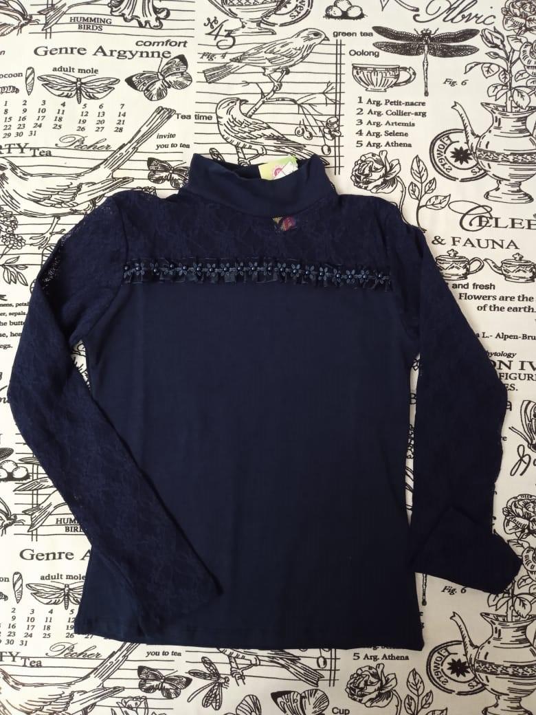 Детская блузка с жемчужинами для девочки, цвет: темно-синий, артикул: 4230