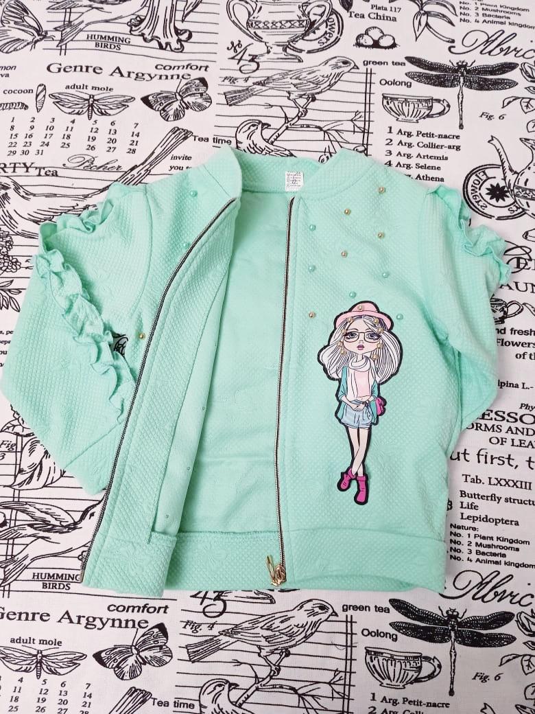 Детский кардиган для девочки, цвет: зеленый, артикул: KRD-5