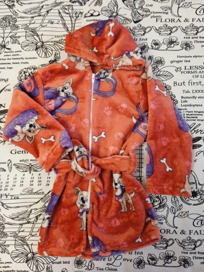 Детский халат для девочки, цвет: оранжевый, артикул: HAL3