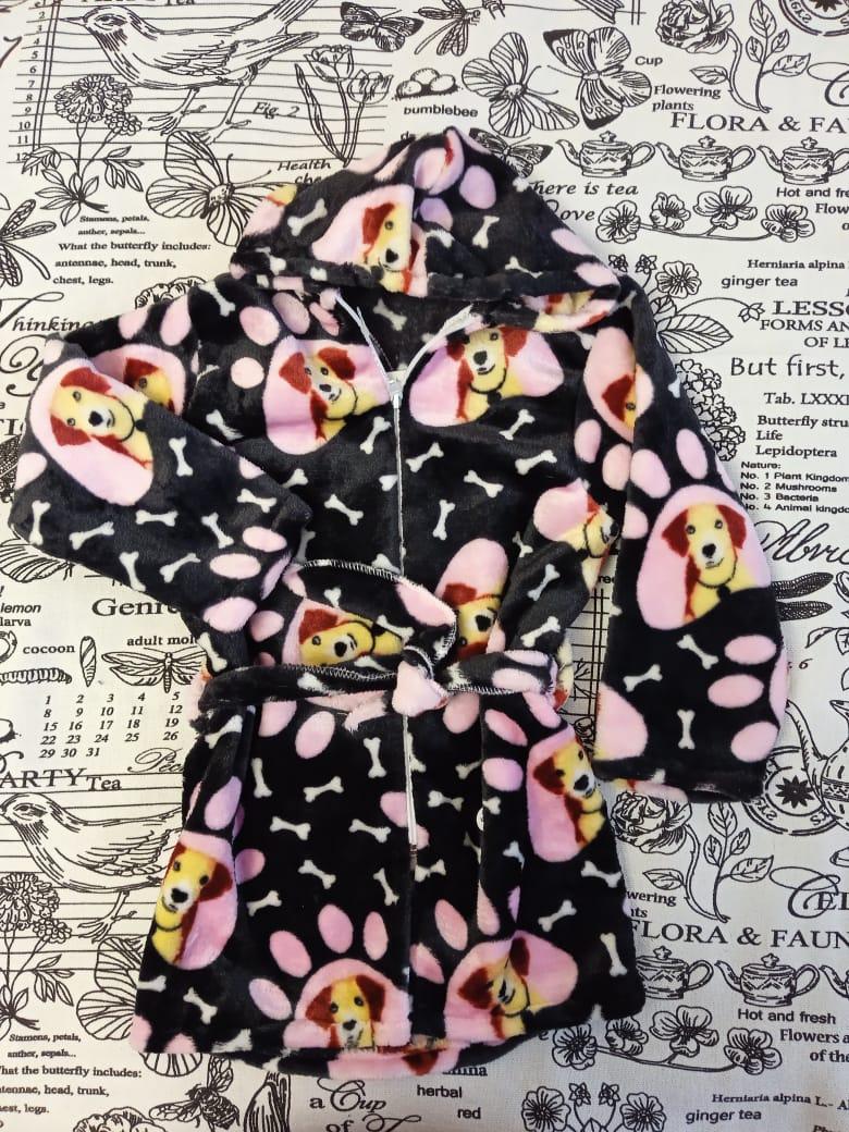 Детский халат для девочки, цвет: черный, артикул: HAL1