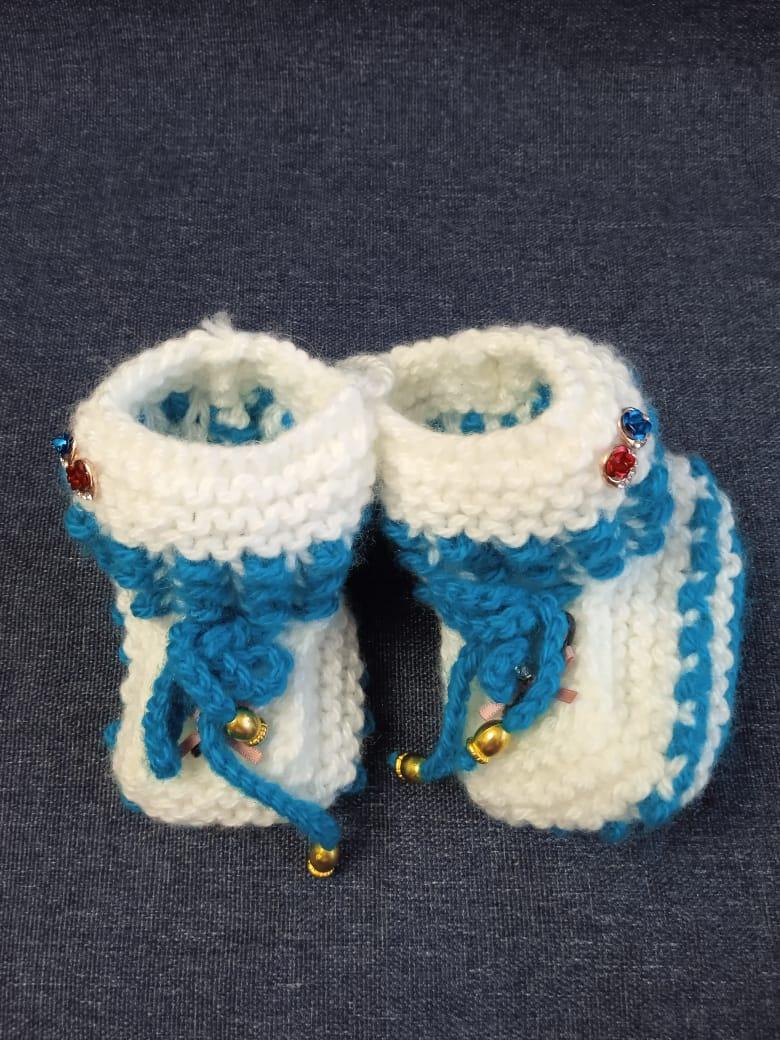 Детские пинетки для малышей, цвет: бело-синий, артикул: PIN-12