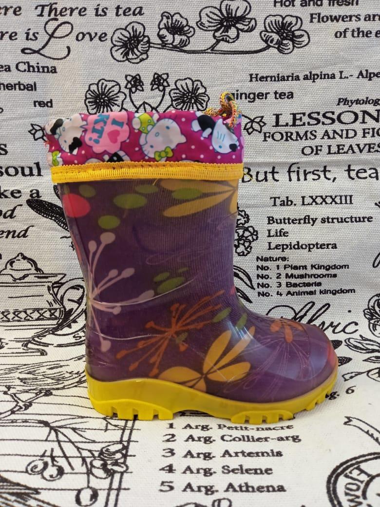 Детские резиновые сапоги для девочек, цвет: фиолетовый, артикул: REZ11