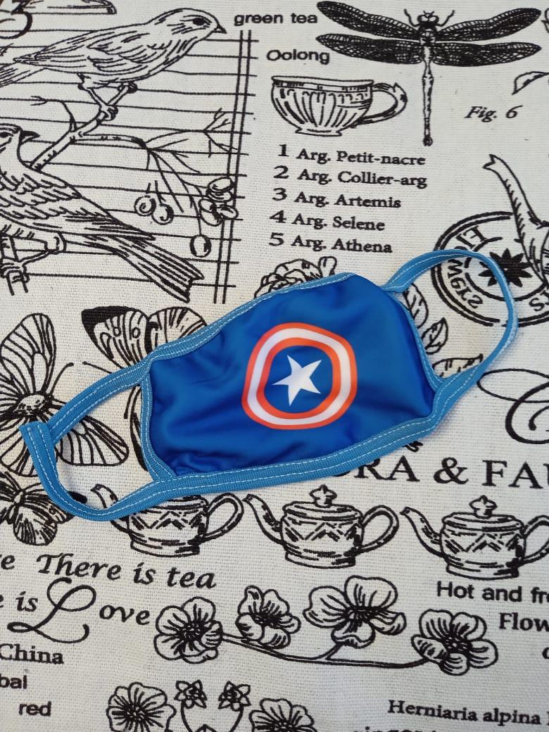 Детская маска защитная многоразовая с принтом Капитан Америка