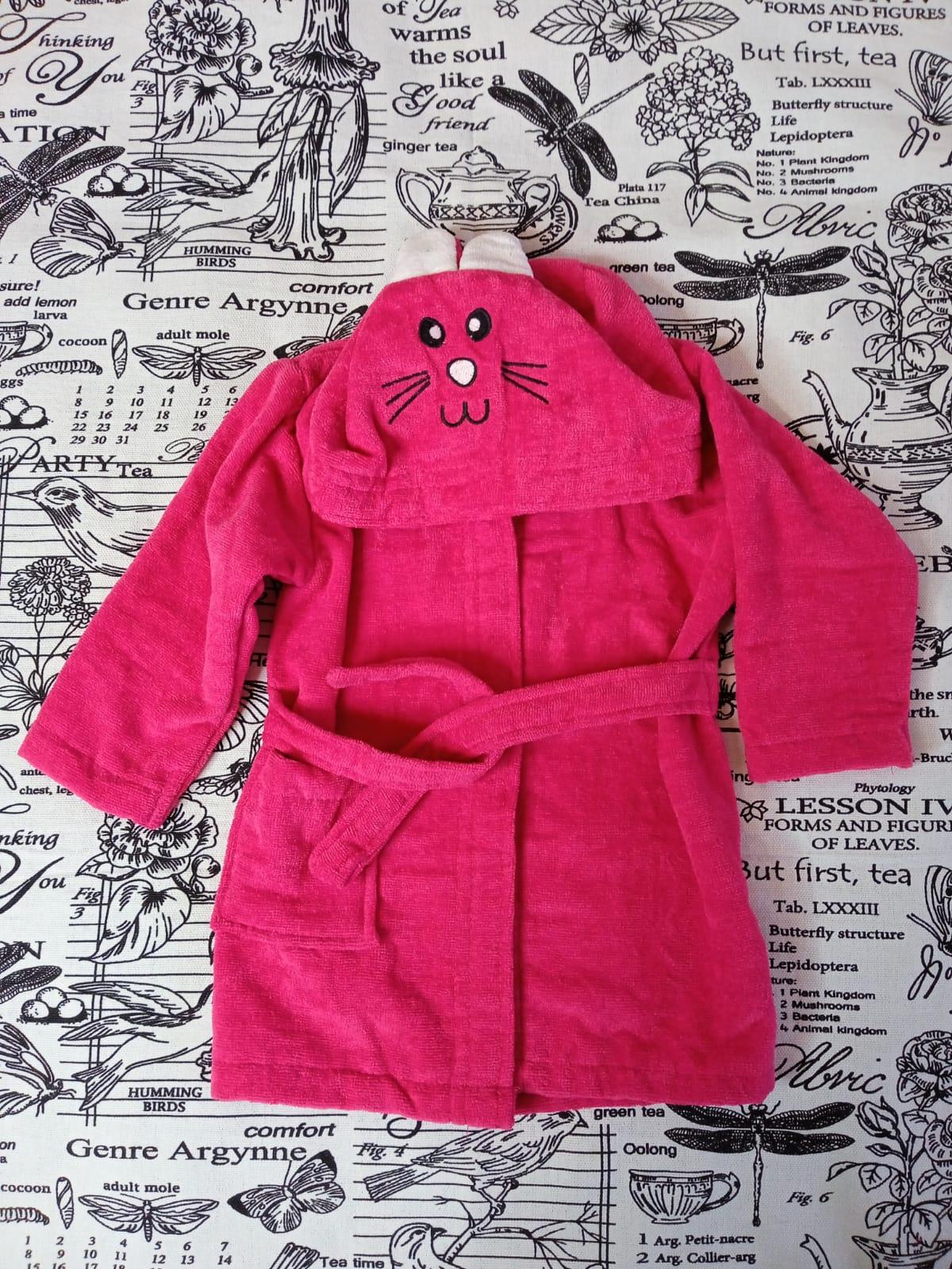 Детский халат для девочки Заяц, цвет: фуксия, артикул: HAL6