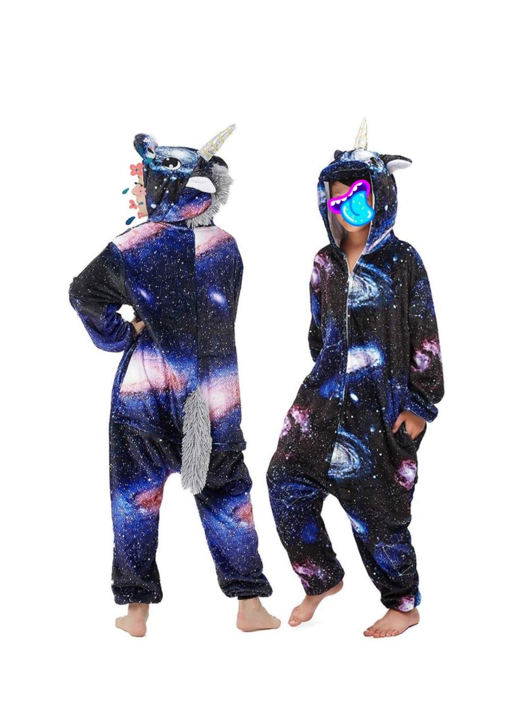 Детский кигуруми пижама Единорог галактический, цвет: черный, артикул: KIG-18
