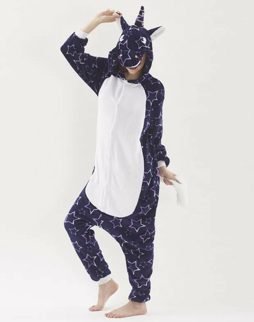 Детский кигуруми пижама Единорог со звездами, цвет: черный, артикул: KIG-19