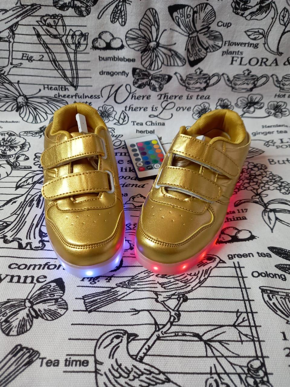 Детские светящиеся кроссовки, цвет: золотой, артикул: LED-1