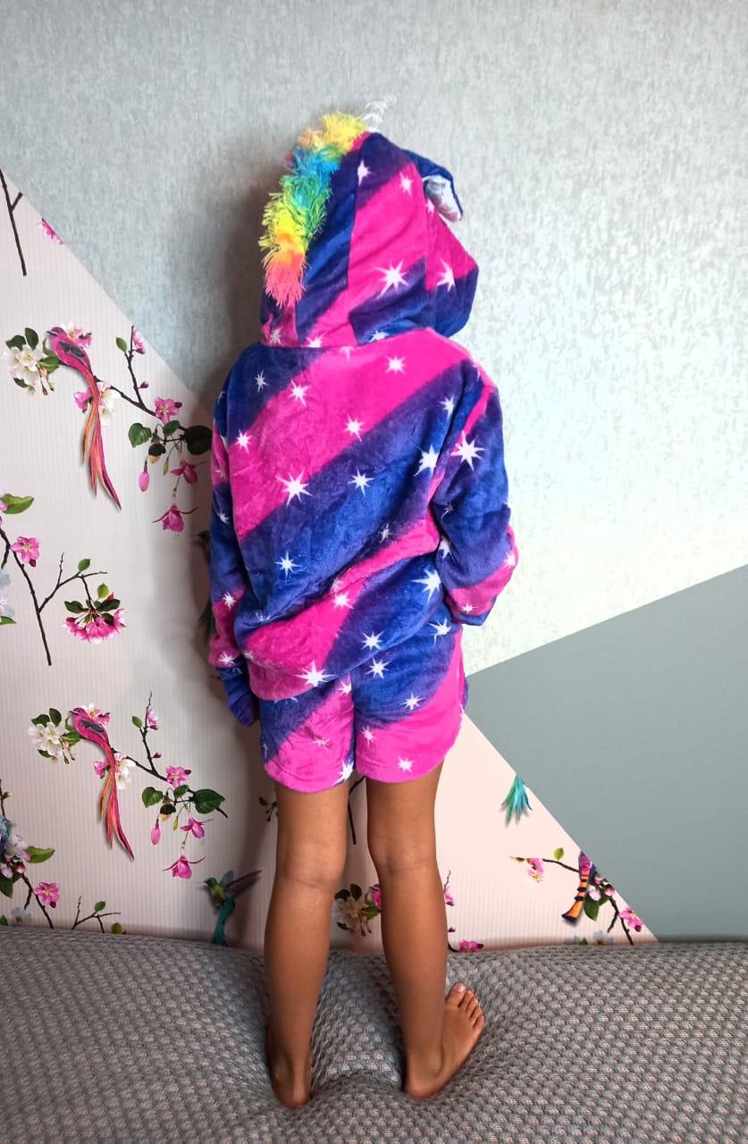 Детский кигуруми костюм (кофта+шорты) Единорог, артикул: KIG-27