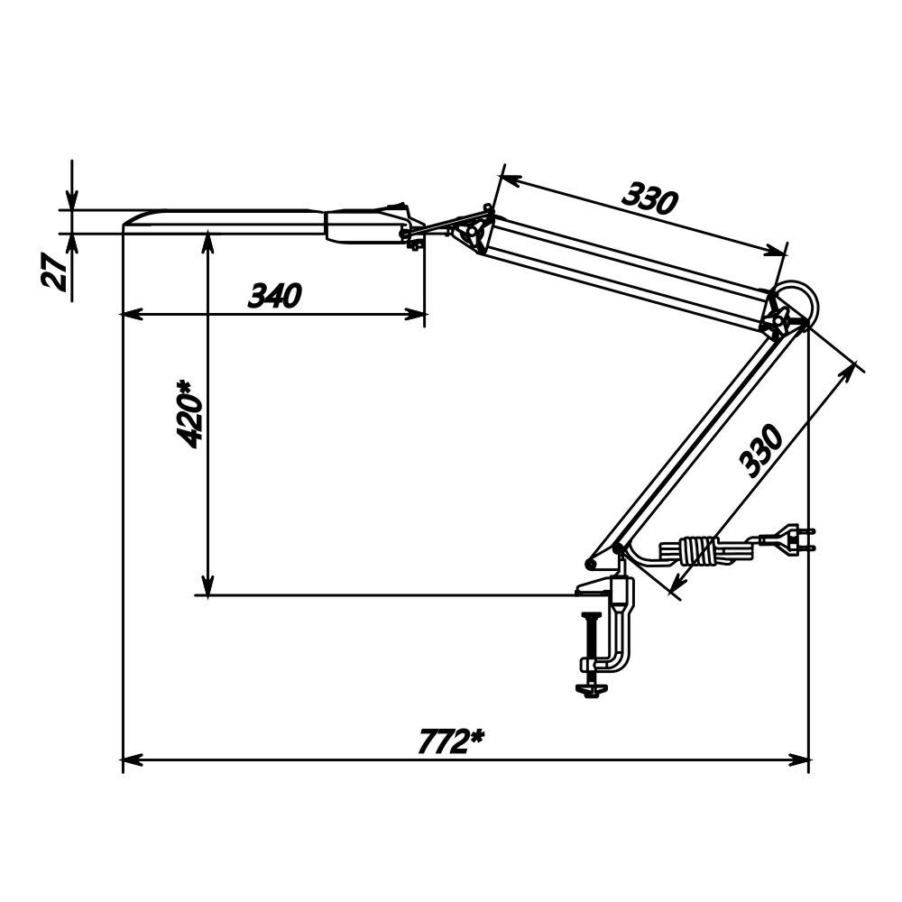 Настольный светодиодный светильник Трансвит ДЕЛЬТА-С16, цвет:белый, 8W, на струбцине