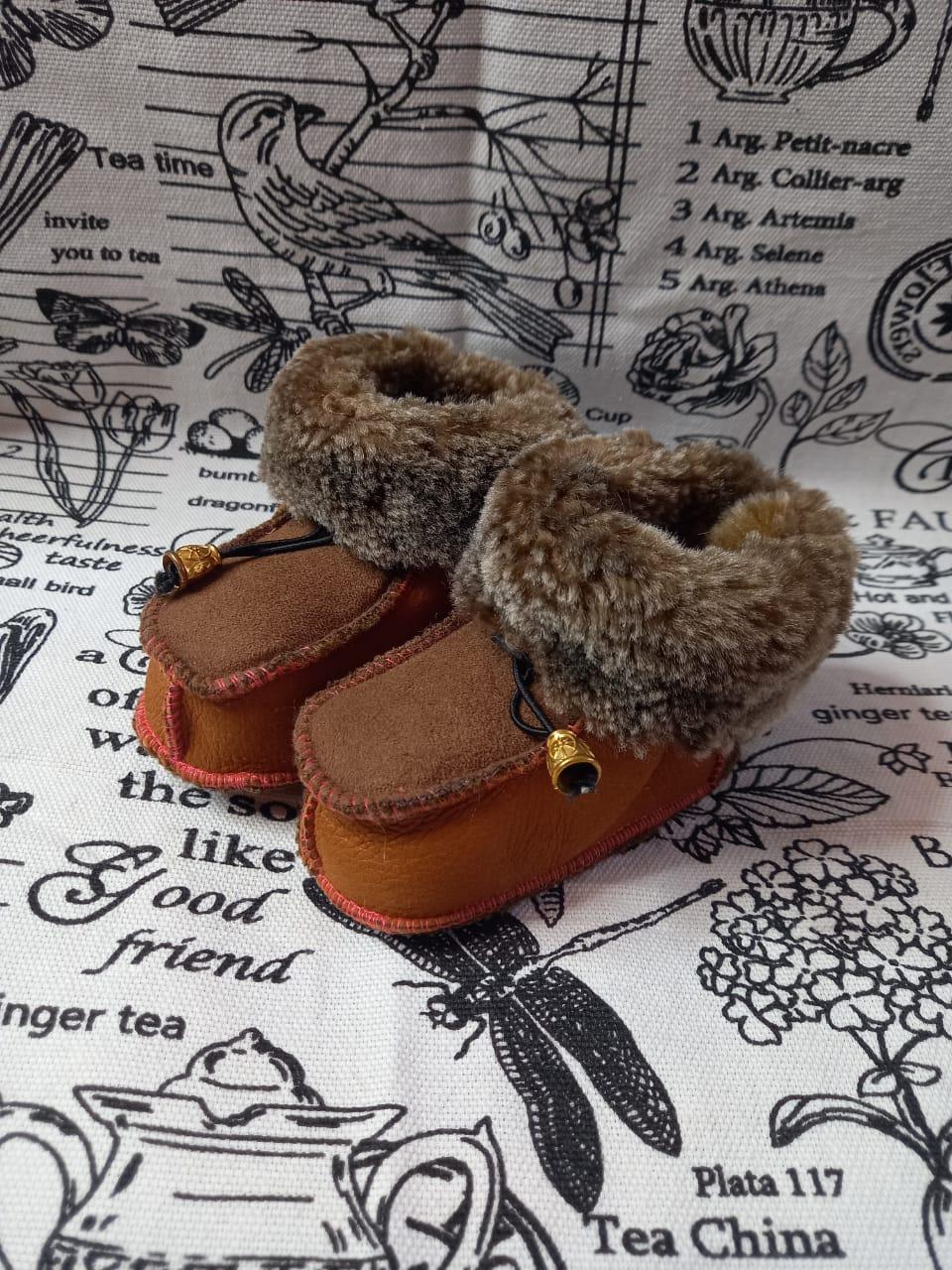 Детские пинетки для малышей из натуральной овчины, артикул: PIN-32