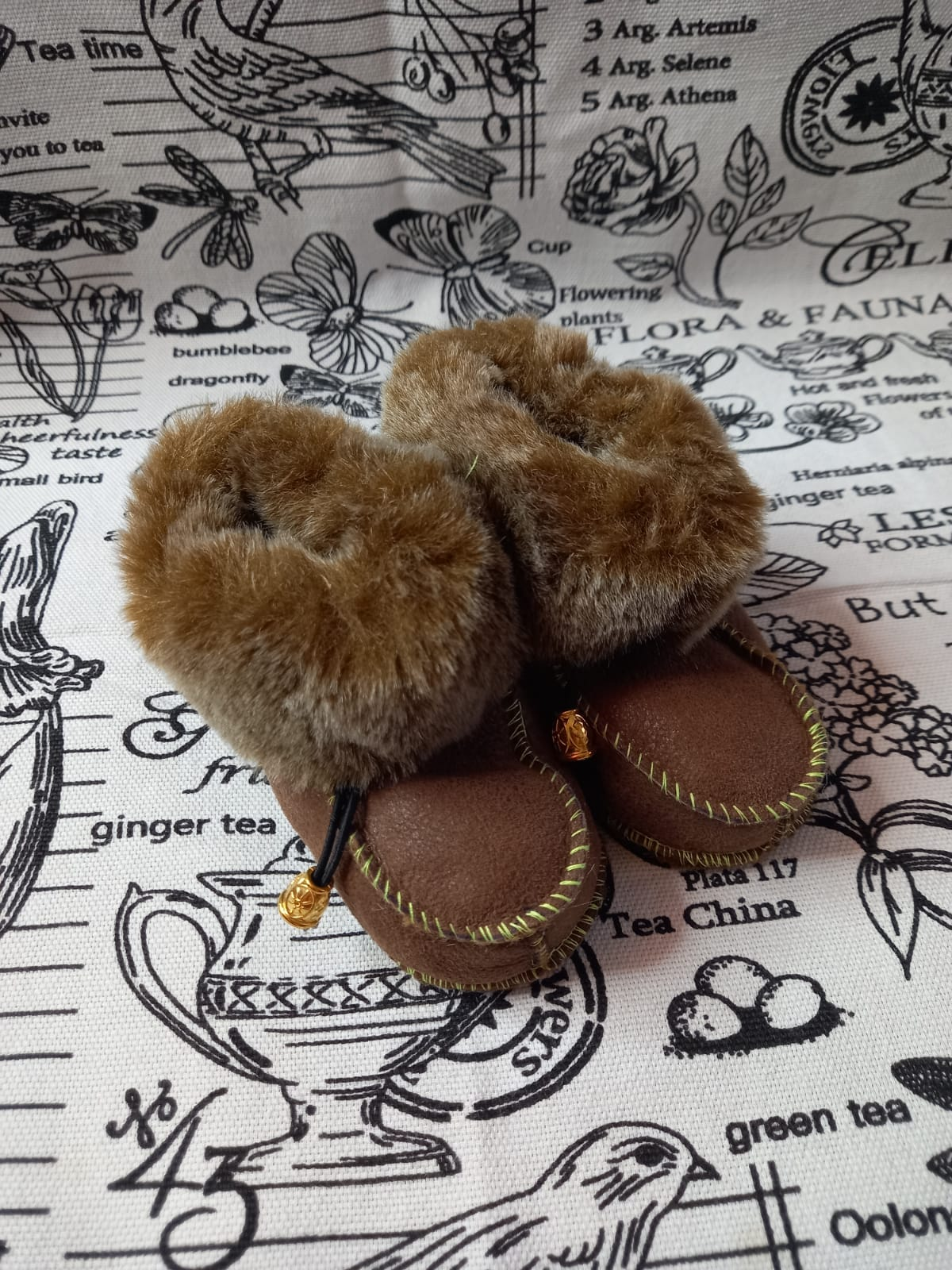 Детские пинетки для малышей из натуральной овчины, артикул: PIN-25