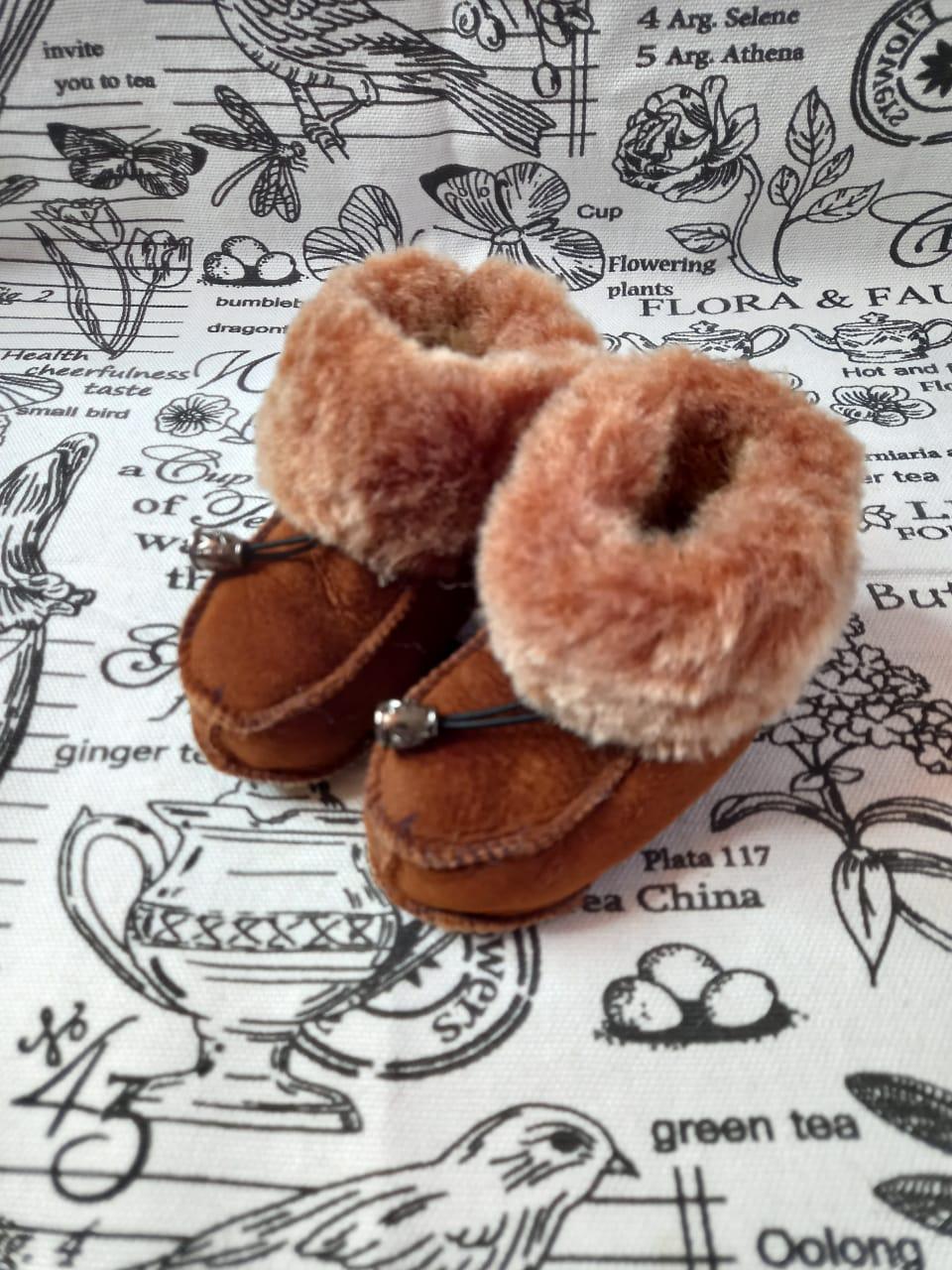 Детские пинетки для малышей из натуральной овчины, артикул: PIN-24