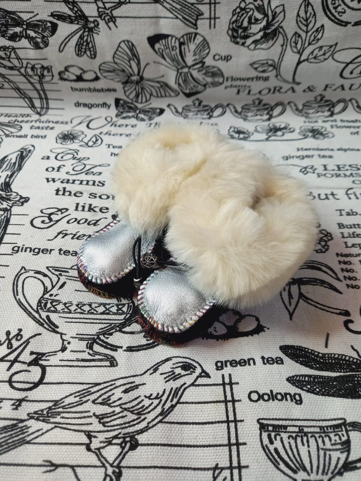 Детские пинетки для малышей из натуральной овчины, артикул: PIN-17