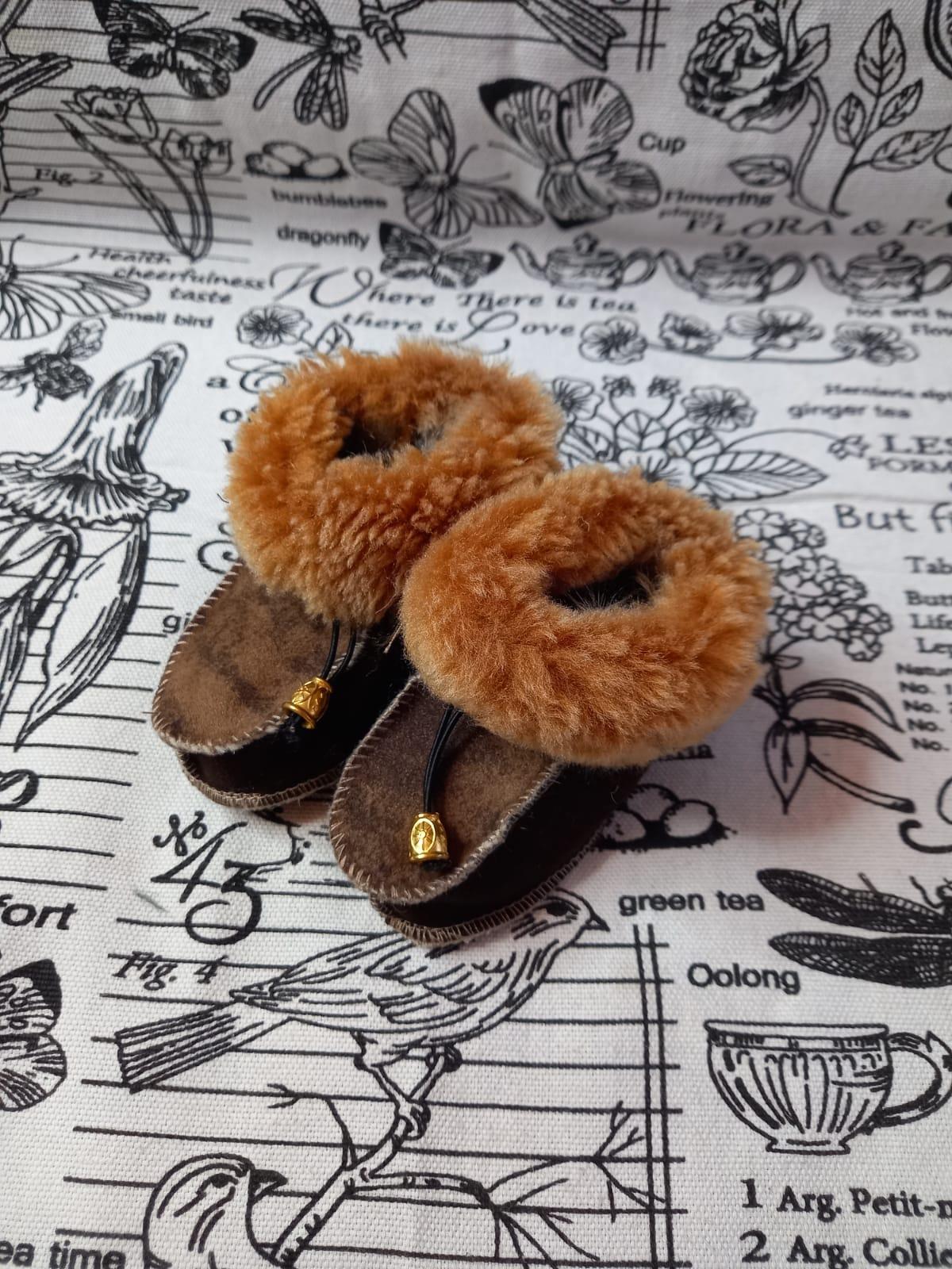 Детские пинетки для малышей из натуральной овчины, артикул: PIN-19